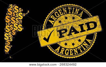 Golden Collage Of Dollar Mosaic Map Of Argentina And Paid Dirty Seal Stamp. Vector Seal With Scratch