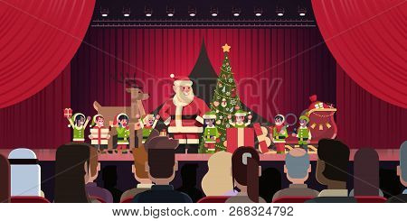 Open Red Curtain Santa Claus And Elves Theater Show Merry Christmas Happy New Year Holiday Concept H