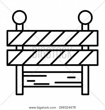 Roadblock Thin Line Icon. Barrier Vector Illustration Isolated On White. Boundary Outline Style Desi