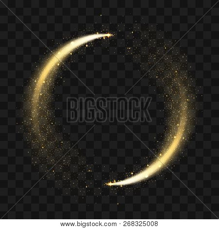 Gold Sparkling Glitter Circle. Vector Circle Of Golden Glittering Particles With Star Light Trail An