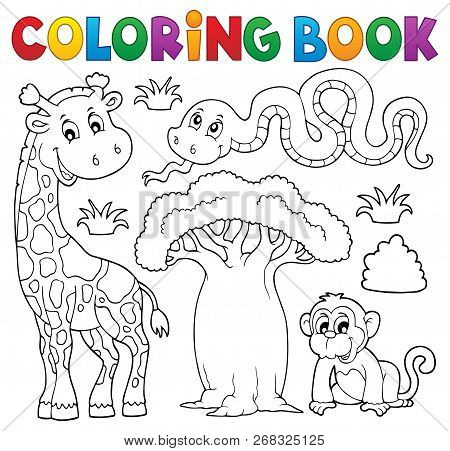 Coloring Book African Nature Theme Set 1 - Eps10 Vector Picture Illustration.