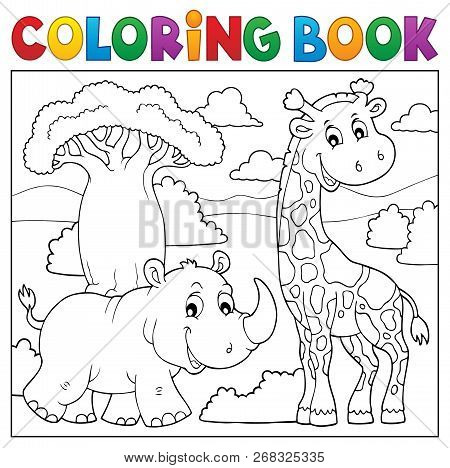 Coloring Book African Nature Topic 2 - Eps10 Vector Picture Illustration.