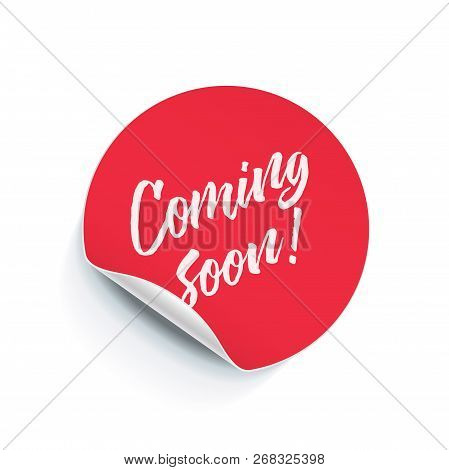 Round Sticker Tag With Peel Fold Corner. Vector Coming Soon Poster, Isolated Pink Red Round Adhesive