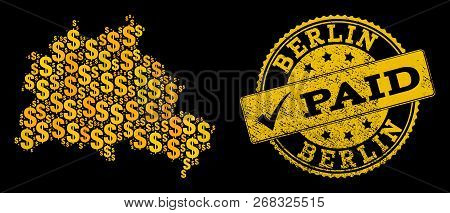 Golden Composition Of Dollar Mosaic Map Of Berlin City And Paid Corroded Seal Stamp. Vector Seal Wit