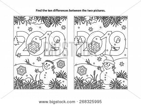 Year 2019 Themed Find The Ten Differences Picture Puzzle And Coloring Page With Year 2019 Heading An