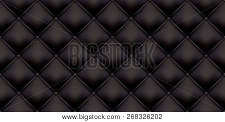 Black leather upholstery pattern texture background. Vector vintage royal sofa leather upholstery with buttons seamless pattern poster