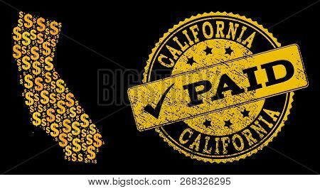 Golden Combination Of Dollar Mosaic Map Of California And Paid Unclean Seal Stamp. Vector Seal With
