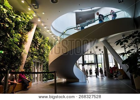 Prague, Czech Republic - May 19 2018: Vertical Garden Indoors, Living Green Wall With Flowers And Pl