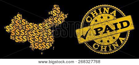 Golden Composition Of Dollar Mosaic Map Of China And Paid Textured Seal Stamp. Vector Seal With Grun