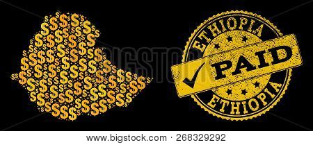 Golden Collage Of Dollar Mosaic Map Of Ethiopia And Paid Textured Seal Stamp. Vector Seal With Distr