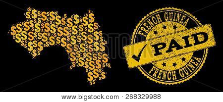 Golden Collage Of Dollar Mosaic Map Of French Guinea And Paid Scratched Seal Stamp. Vector Watermark