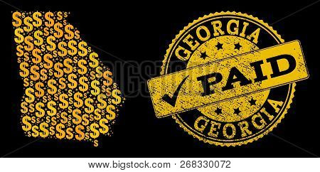 Golden Collage Of Dollar Mosaic Map Of Georgia State And Paid Rubber Stamp. Vector Seal With Unclean