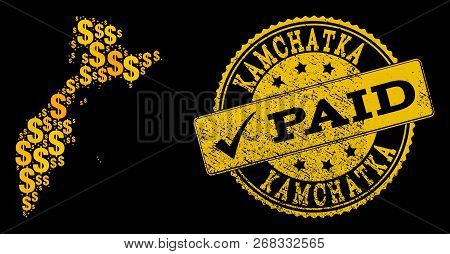 Golden Composition Of Dollar Mosaic Map Of Kamchatka Peninsula And Paid Grunge Seal Stamp. Vector Se