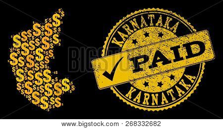 Golden Combination Of Dollar Mosaic Map Of Karnataka State And Paid Unclean Seal Stamp. Vector Seal