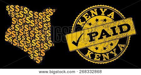 Golden Combination Of Dollar Mosaic Map Of Kenya And Paid Textured Seal Stamp. Vector Seal With Dist