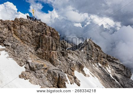 View Of The Summit Of Zugspitze, The Highest Mountain Of The Bavarian Alps In Germany