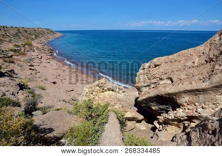 Issyk-kul Lake Shore, Located In Northern Tian Shan Mountains In Eastern Kyrgyzstan, It Is Seventh D
