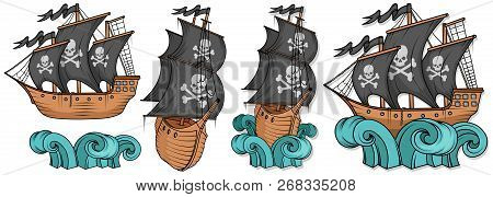 Pirate Ship Or Boat Illustration, Isolated On White Background, Cartoon Sea Pirate Ship, Sailing Shi