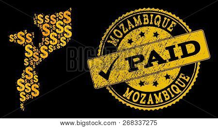 Golden Composition Of Dollar Mosaic Map Of Mozambique And Paid Rubber Seal Stamp. Vector Seal With S