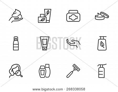 Skincare Icon. Set Of Line Icons On White Background. Hand Cream, Body Lotion, Shaving Razor. Beauty