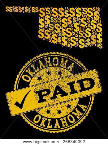 Golden Combination Of Dollar Mosaic Map Of Oklahoma State And Paid Scratched Seal Stamp. Vector Seal