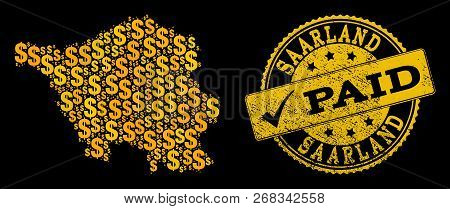 Golden Combination Of Dollar Mosaic Map Of Saarland State And Paid Rubber Seal Stamp. Vector Seal Wi