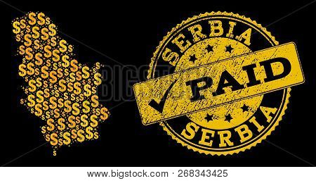 Golden Collage Of Dollar Mosaic Map Of Serbia And Paid Rubber Seal Stamp. Vector Seal With Corroded