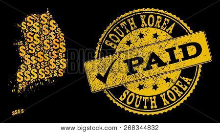 Golden Combination Of Dollar Mosaic Map Of South Korea And Paid Rubber Seal Stamp. Vector Seal With
