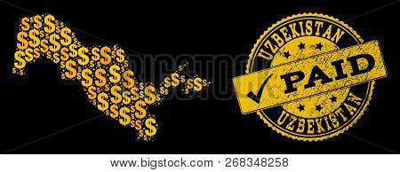 Golden Combination Of Dollar Mosaic Map Of Uzbekistan And Paid Rubber Seal Stamp. Vector Seal With S
