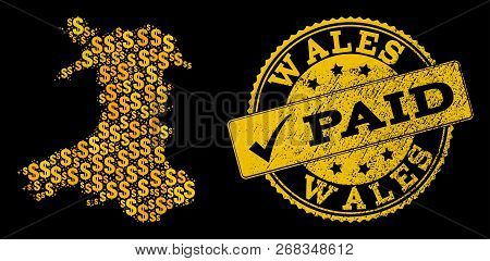 Golden Combination Of Dollar Mosaic Map Of Wales And Paid Rubber Seal Stamp. Vector Watermark With G