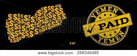 Golden Combination Of Dollar Mosaic Map Of Yemen And Paid Grunge Seal Stamp. Vector Seal With Grunge