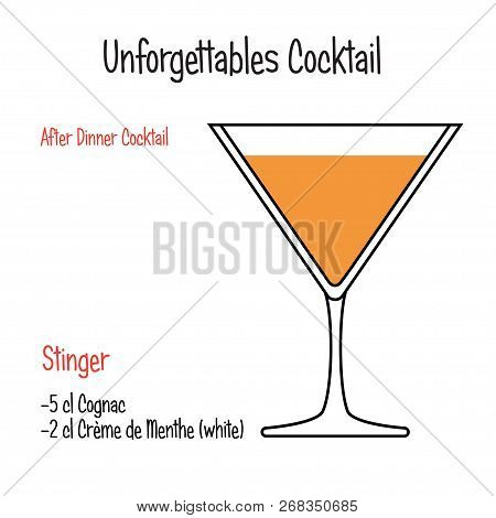Stinger Alcoholic Cocktail Vector Illustration Recipe Isolated