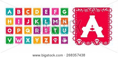 Mexican Style Alphabet Typography Set, Traditional Paper Flag Font In Festive Colors With Day Of The