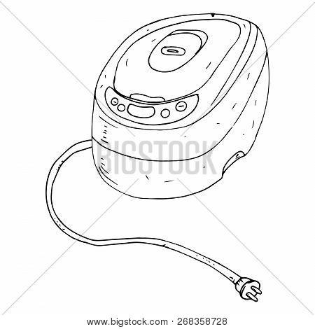 Pressure Cooker, Multicooker. Vector Crockpot. Hand Drawn Pressure Cooker.