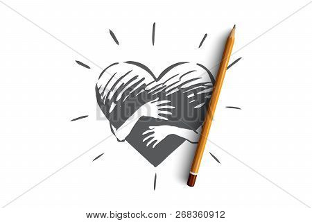 Empathy, Heart, Love, Charity, Support Concept. Hand Drawn Hands Hugging Heart Concept Sketch. Isola