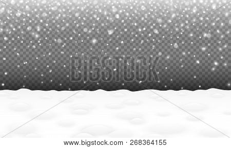 Falling Snow With Snowy Landscape And Snowdrifts Christmas Or New Year Vector Background Winter Snow