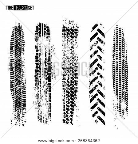 Tire Track Texture Set Isolated On White Background. Vector Design Elements.