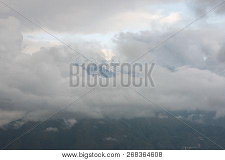 Cloud Covered Pachchuli Himalayan Peak - Khaliya Top Munsiyari, Uttarakhand