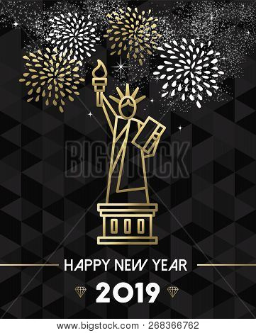 happy new year 2019 new york greeting card with usa united states statue of liberty in