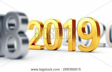 Gold Numbers 2019 On White. New Year Concept