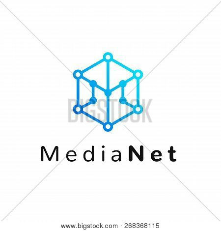 Hexagonal Geometrical Social Network Logo Icon With Letter M, Simple Lines.honeycomb Blue Logotype,