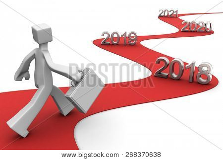 Bright future success concept 2018 3d illustration