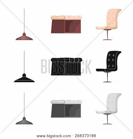Vector Design Of Furniture And Apartment Icon. Set Of Furniture And Home Stock Vector Illustration.