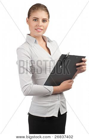 Young attractive business woman holding documents on clipboard, isolated on white background