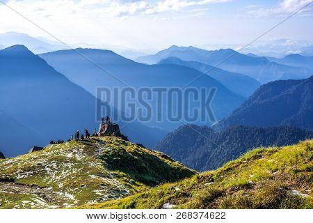 Trekker On Himalayas Peak Khaliya Top, Munsiyari, Uttarakhand