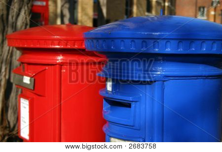 Blue And Red Post Boxes