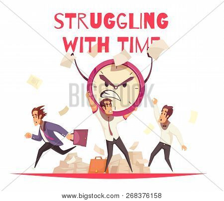 Struggling With Time Design Concept With Angry Cartoon Face Of Alarm Clock And People Hurrying To Wo