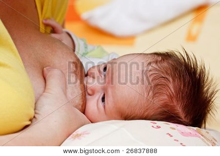 Baby Girl Sucking At Her Mother's Breast