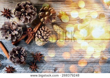 Christmas Decoration Pine, Cone, Stick Of Cinnamon And Anise