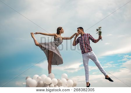 Dancing In The Sky. Couple In Love. Ballet Couple Into Love Relations. Ballet Dancers Falling In Lov